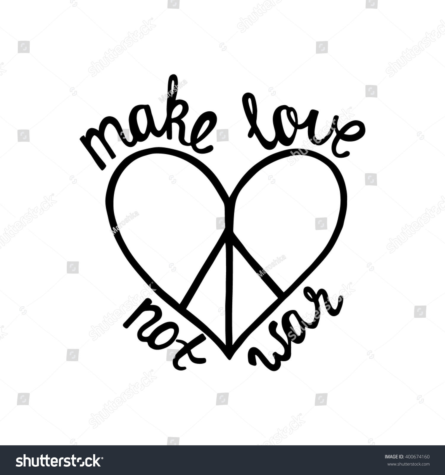 Quotes On Peace And Love Make Love Not War Inspirational Quote Stock Vector 400674160