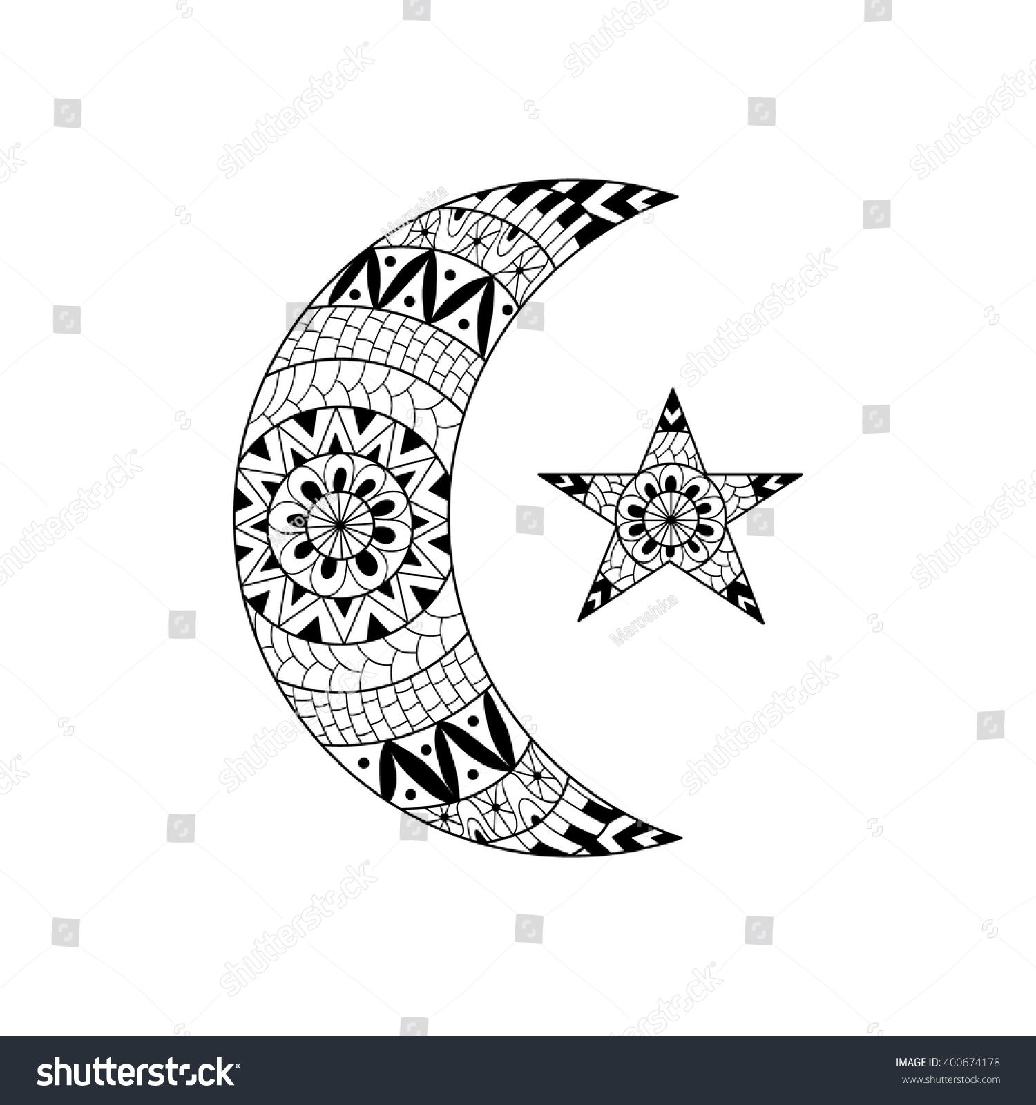 hand drawn new moon star anti stock vector 400674178 shutterstock