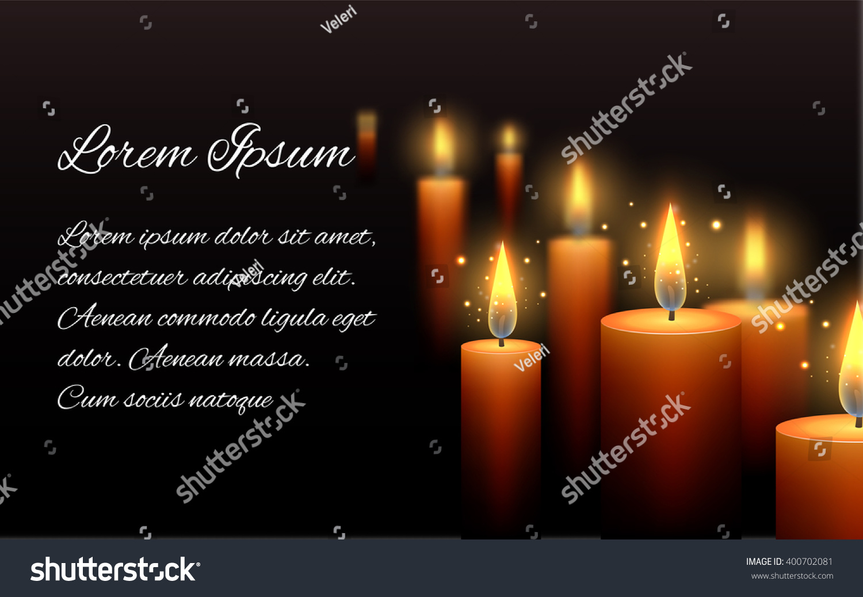Template Letter Condolence Burning Candle Dark Vector – Condolence Template