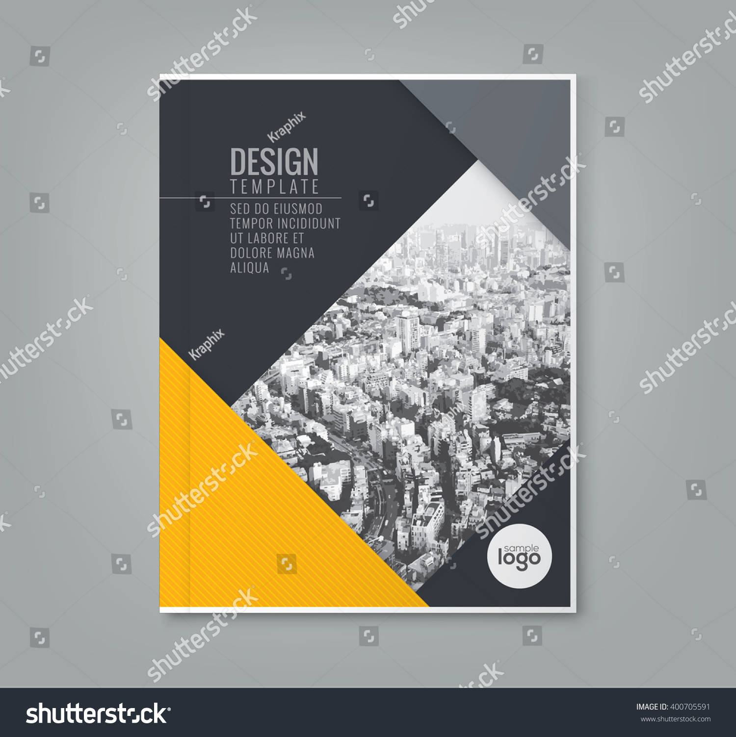 basic brochure template - minimal simple yellow color design template stock vector