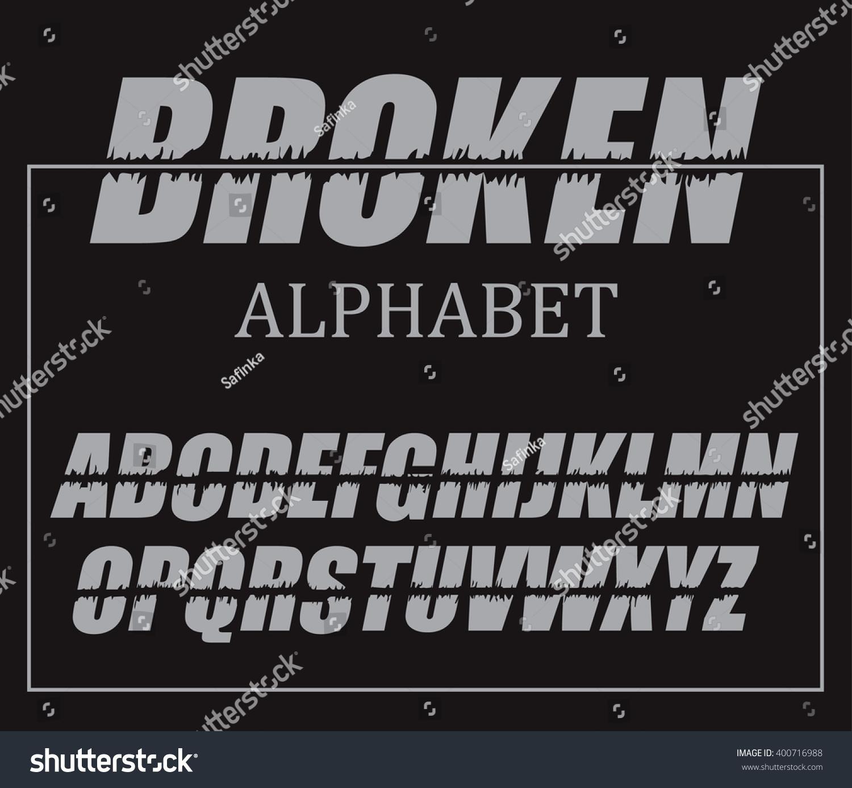 Gray Alphabet Font: Set Broken Letters Grey English Alphabet Stock Vector