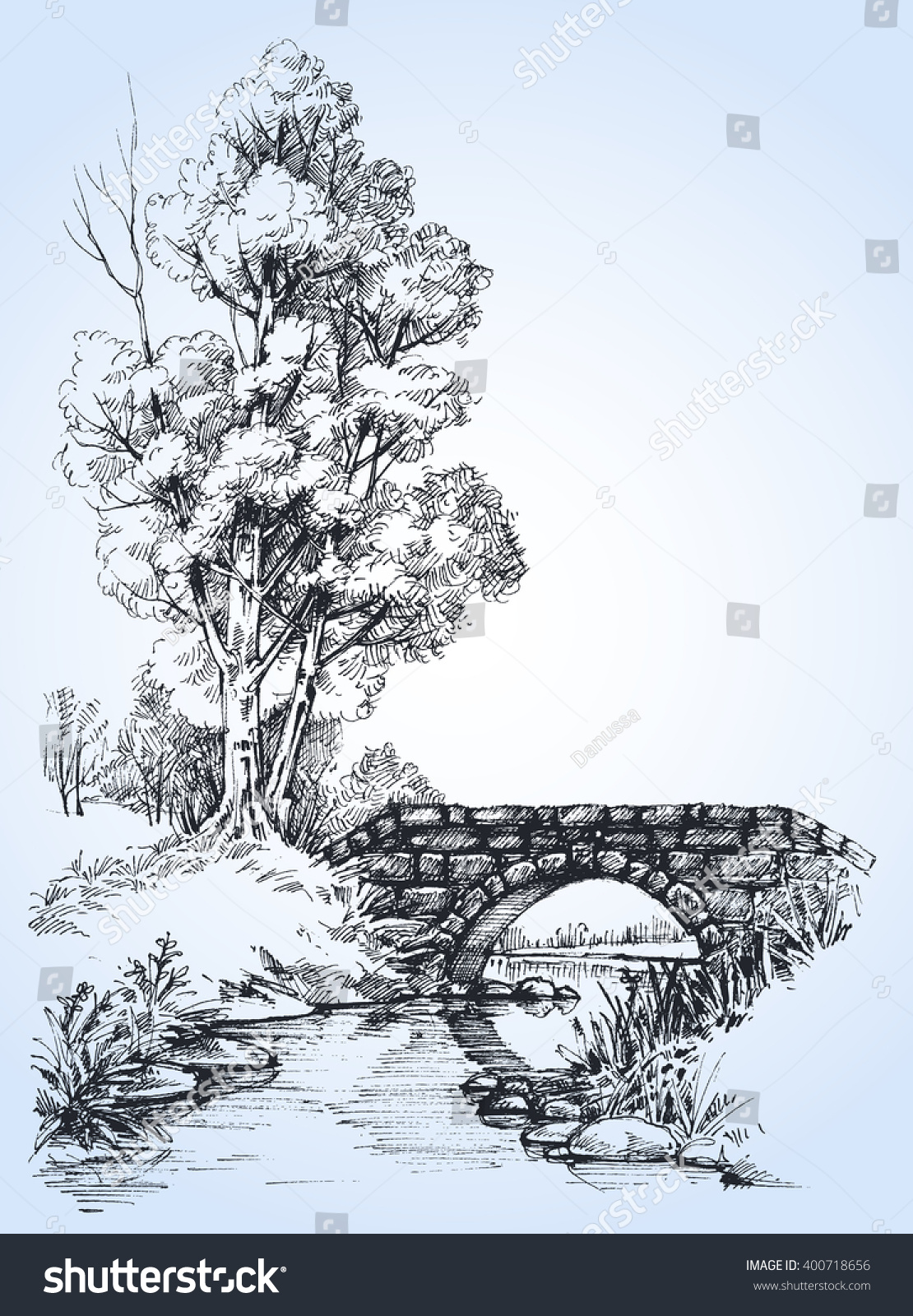 Line Drawing River : Park sketch a stone bridge over river in the forest stock