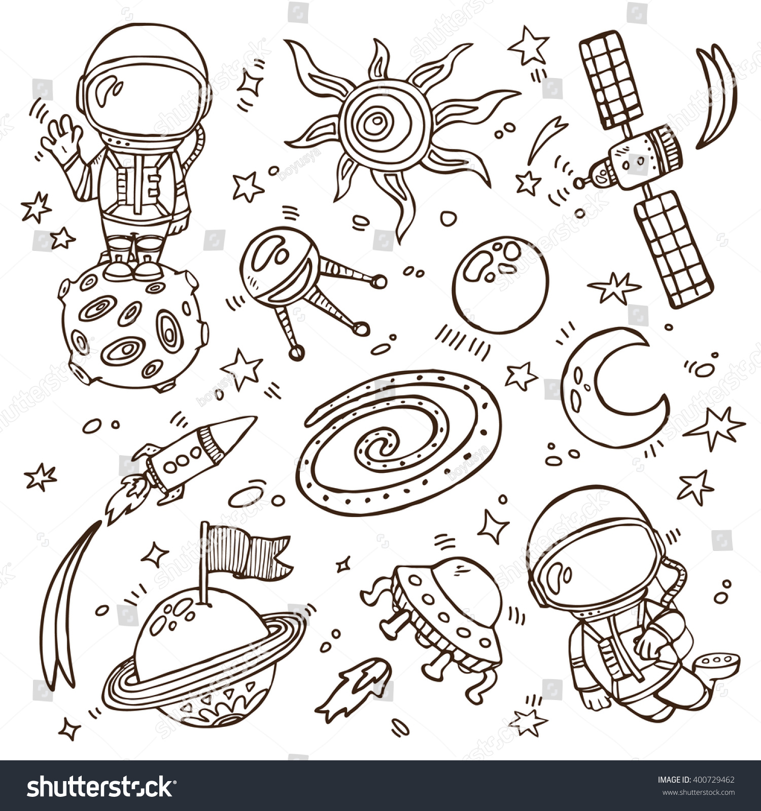 doodle space collection set vector doodle stock vector 400729462