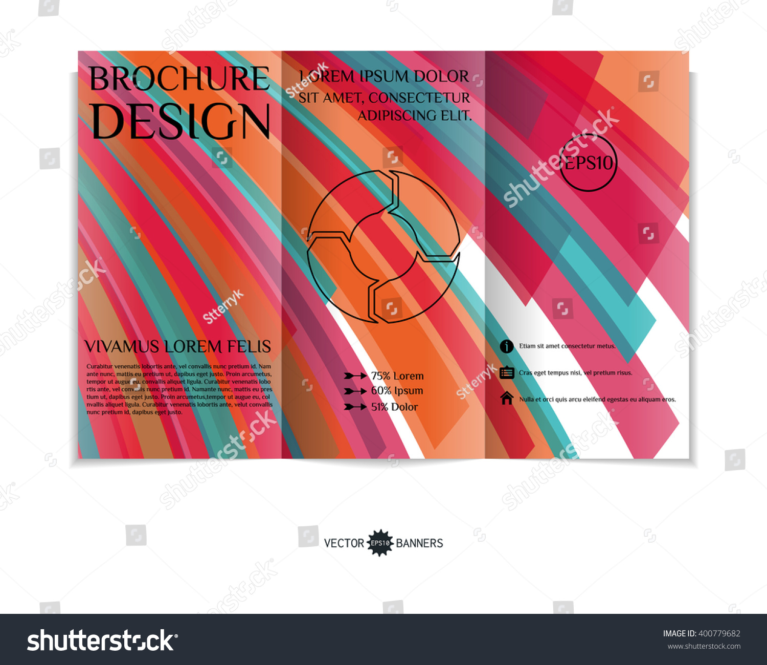 colorful brochure design - colorful trifold brochure design template modern stock