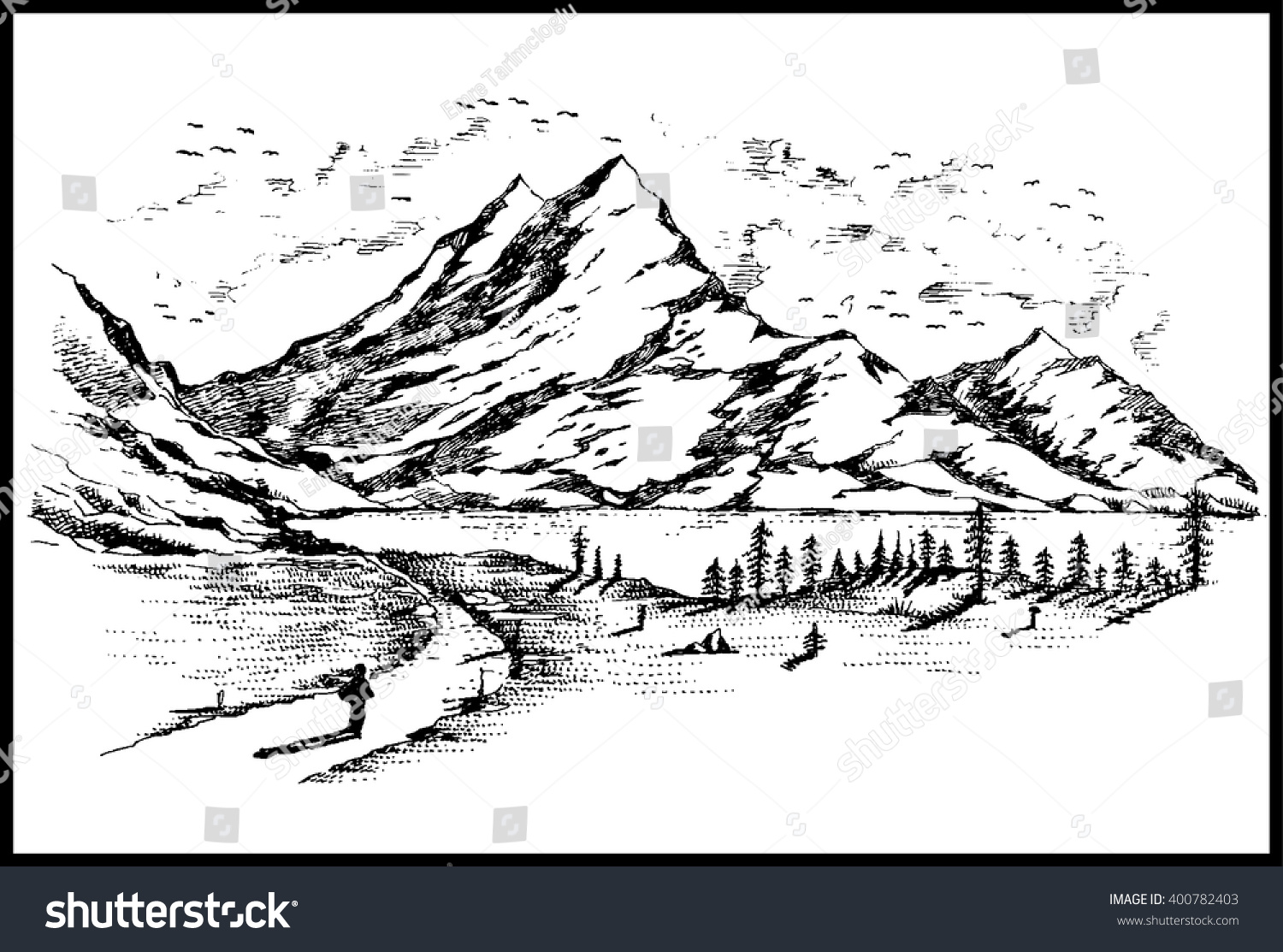 Hand Drawn Black White Mountain Landscape Stock Vector (Royalty Free ...