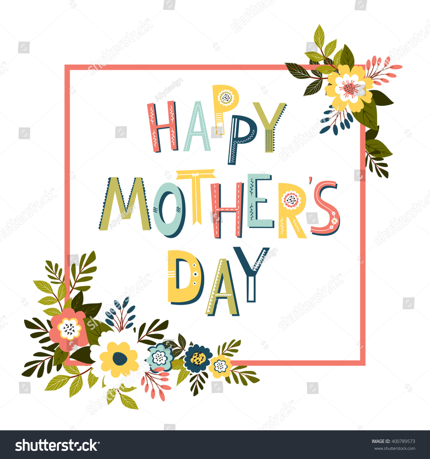 Mothers Day Card Template Vector Vector 400789573 Shutterstock – Mothers Day Card Template