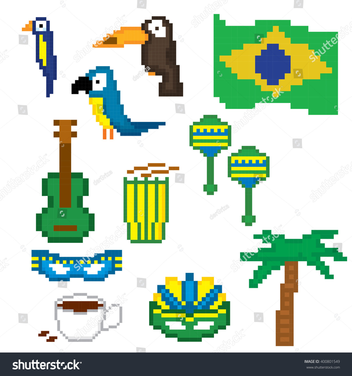 Brazil culture symbol set pixel art stock vector 400801549 brazil culture symbol set pixel art old school computer graphic style biocorpaavc