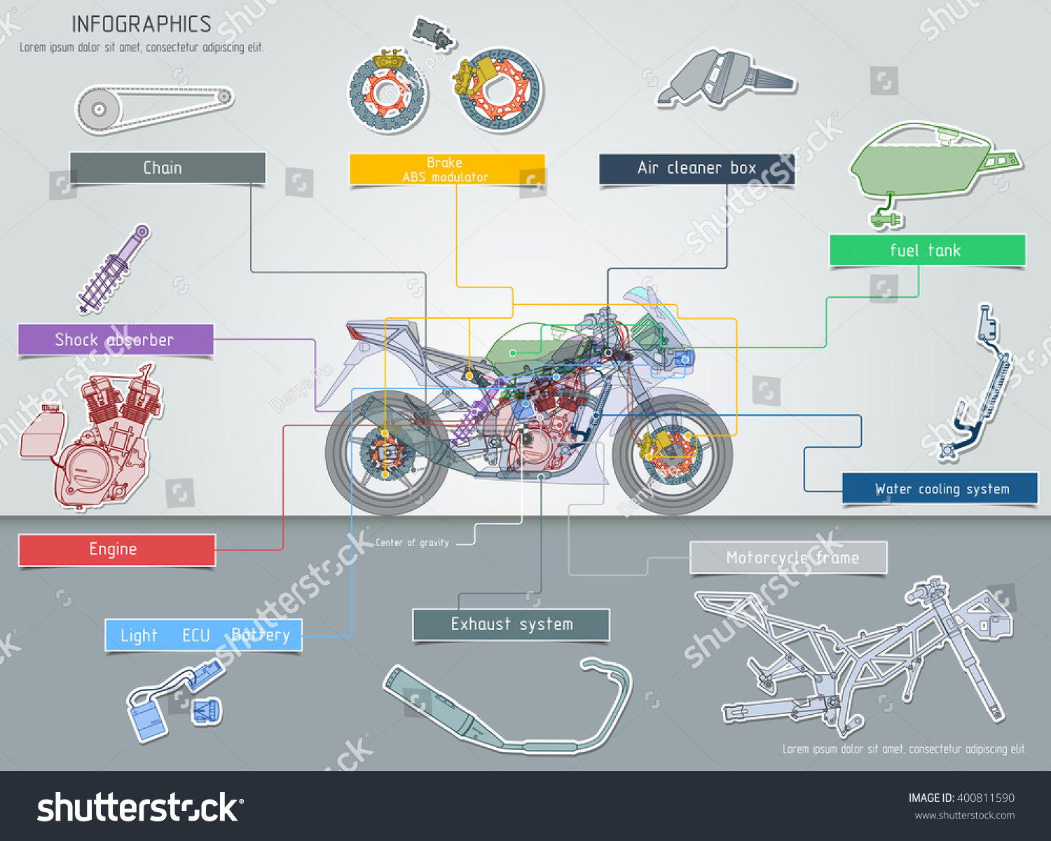 Motor Engine Diagram Systems Sports Bike Vector Stock Royalty Free In Illustration Eps 10