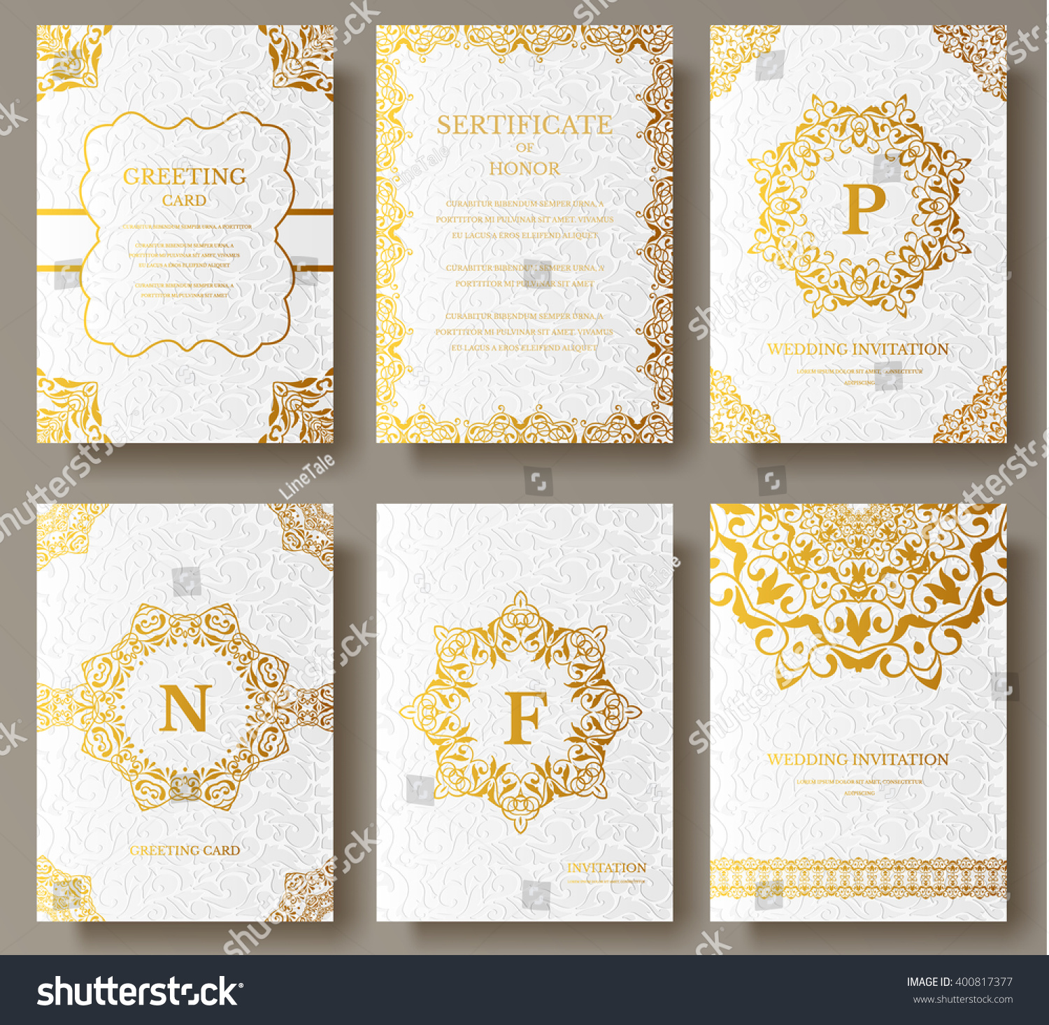 luxury brochure template - set of luxury gold artistic pages with logo brochure