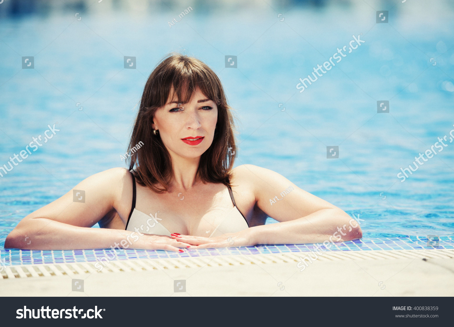 Sexy Young Woman Swimming Pool Blue Stock Photo 400838359 Shutterstock