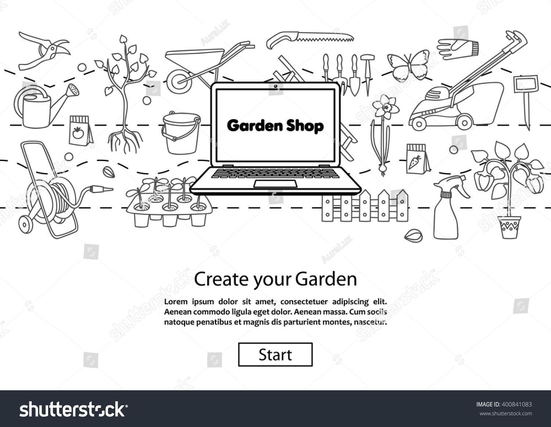 Garden shop concept website template modern stock vector 400841083 concept website template modern outline design online garden shopping garden pronofoot35fo Images