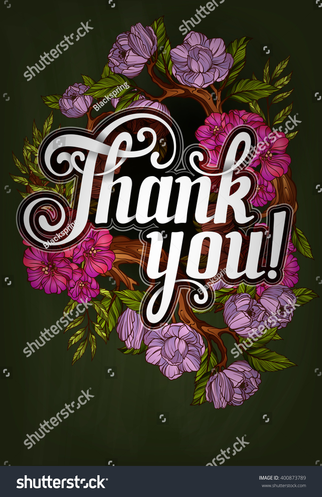 thank you lettering decorated flowers poster stock vector hd