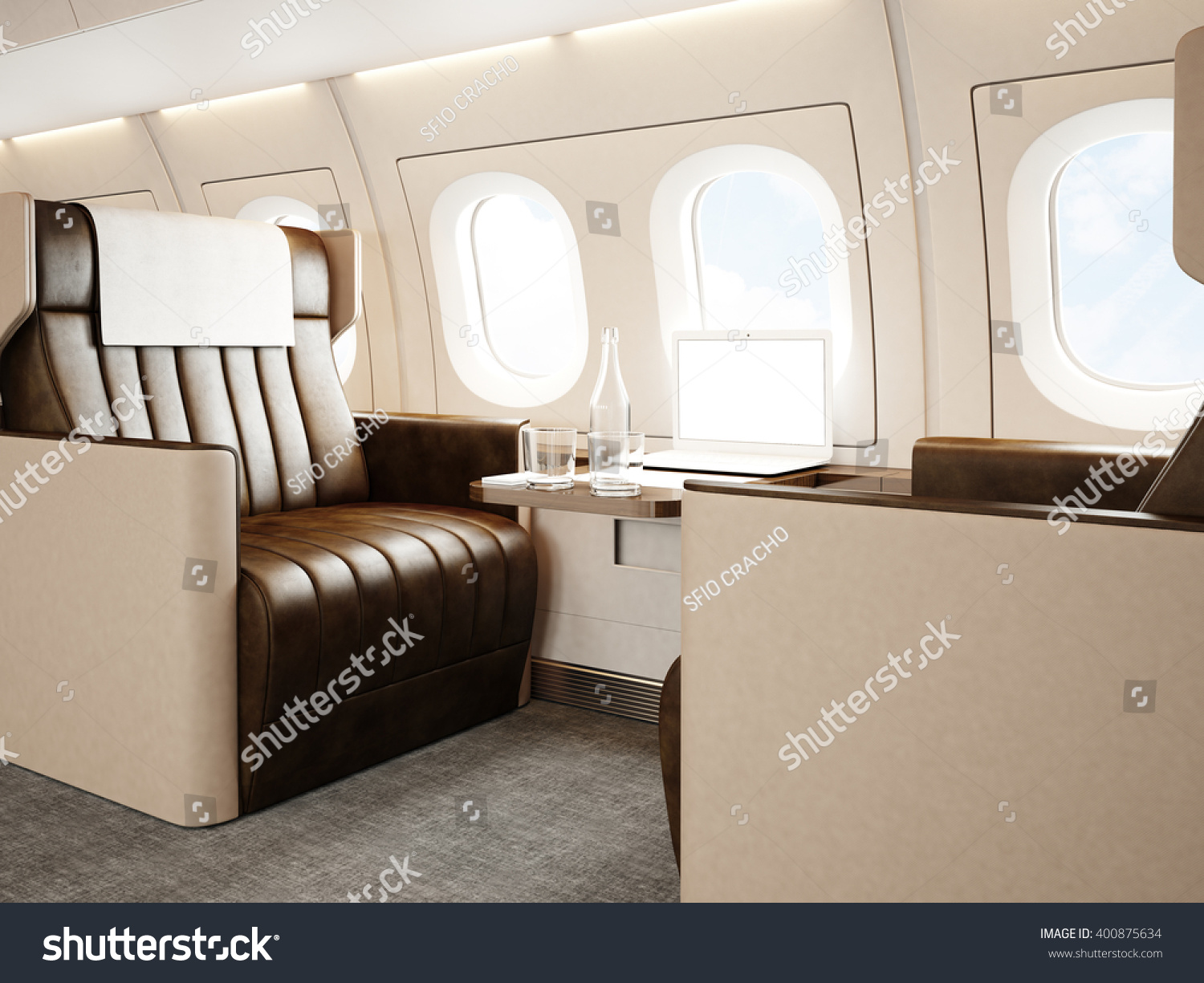 Photo Interior Of Luxury Private Jet Empty Leather Chair Modern Generic Design Laptop Table