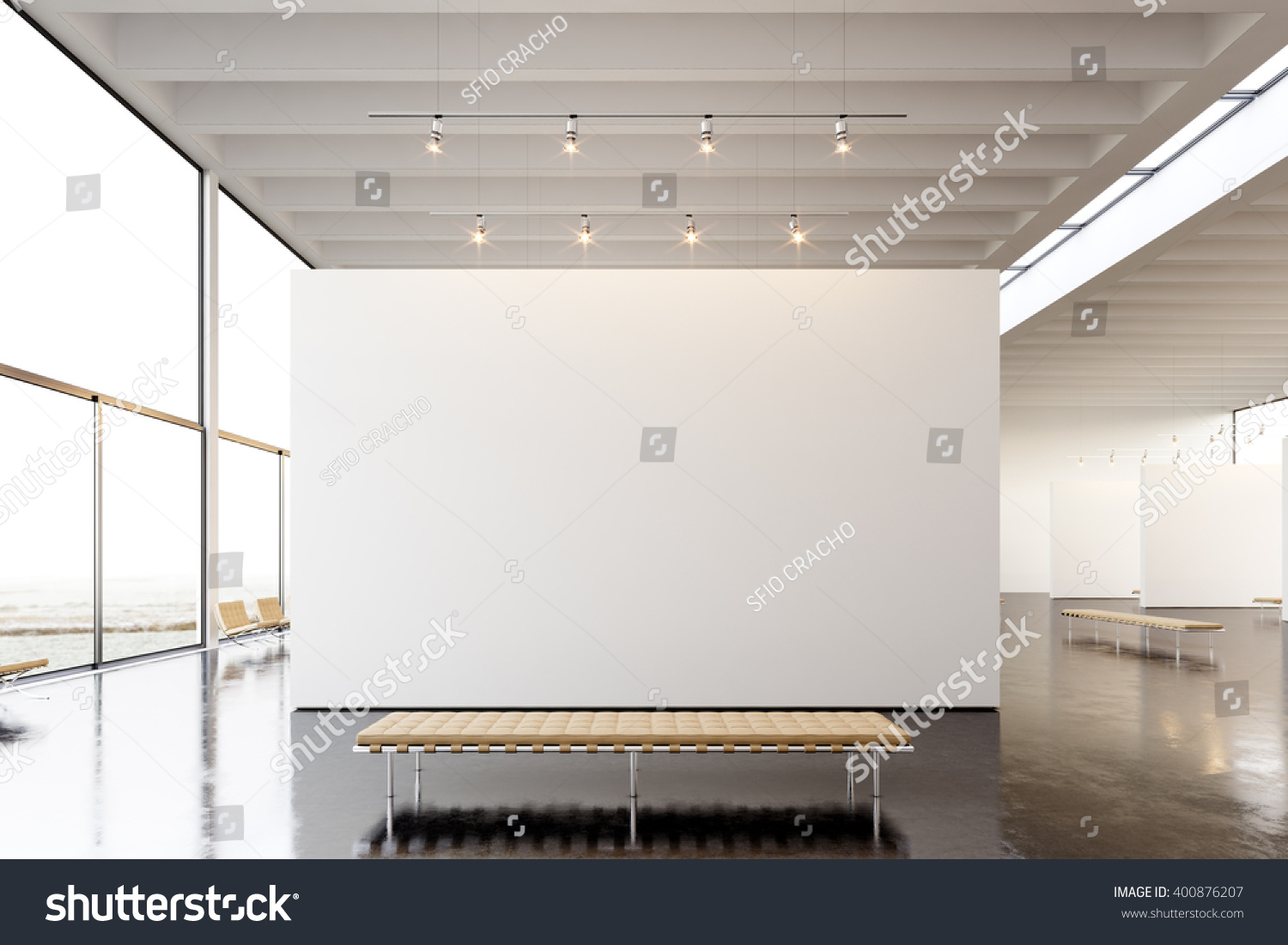 contemporary art furniture. Picture Exposition Modern Gallery,open Space.Blank White Empty Canvas Hanging Contemporary Art Museum Furniture