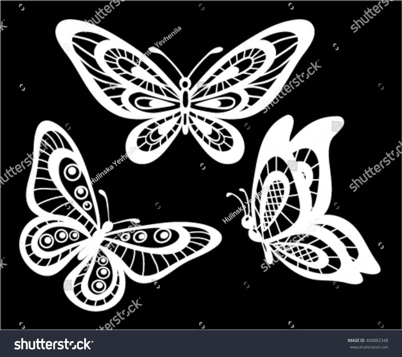 set beautiful black white guipure lace stock vector 400882348