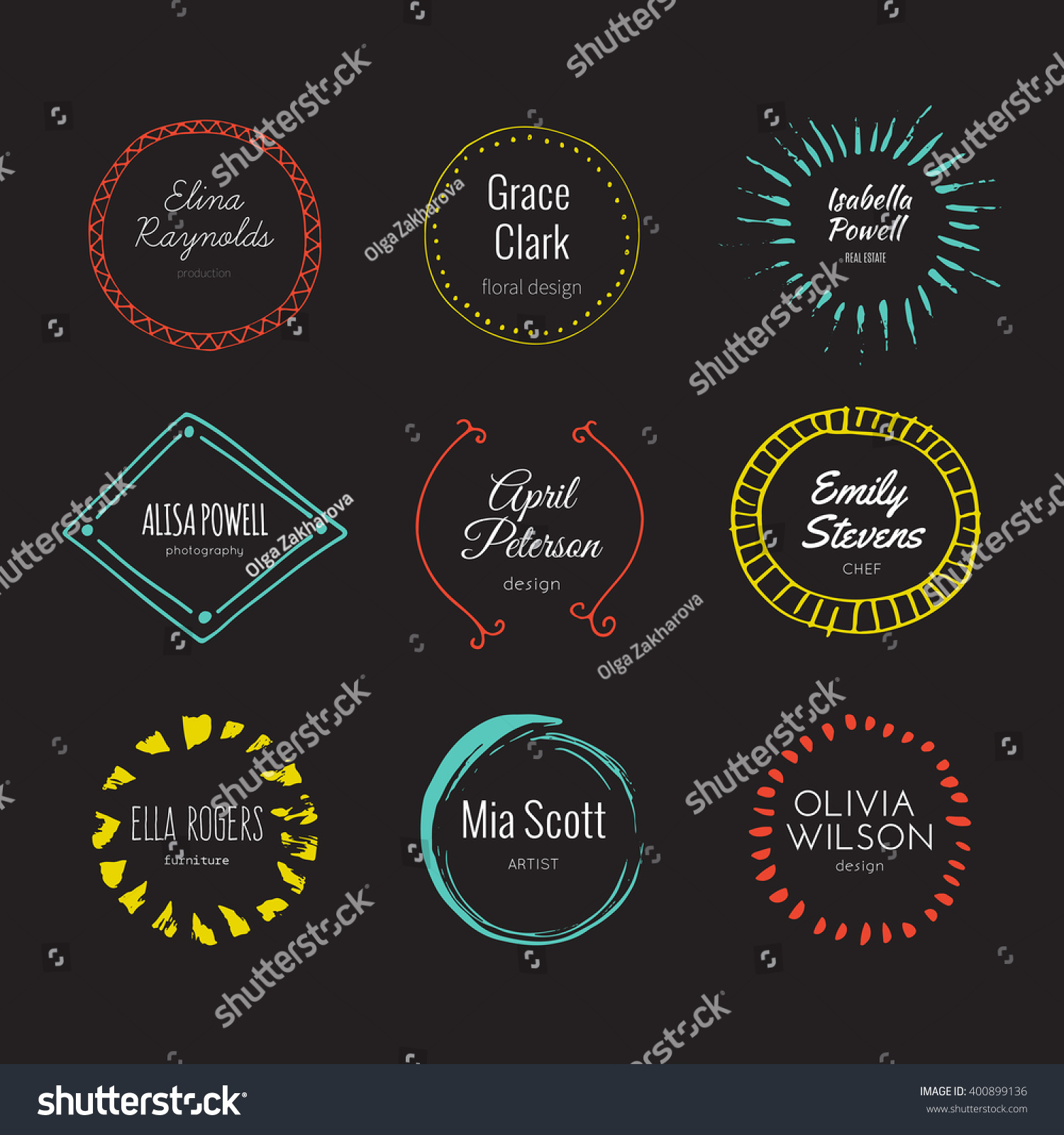 Hipster logo template collection abstract hand stock vector royalty hipster logo template collection abstract hand sketched shapes for branding design real ink texture maxwellsz