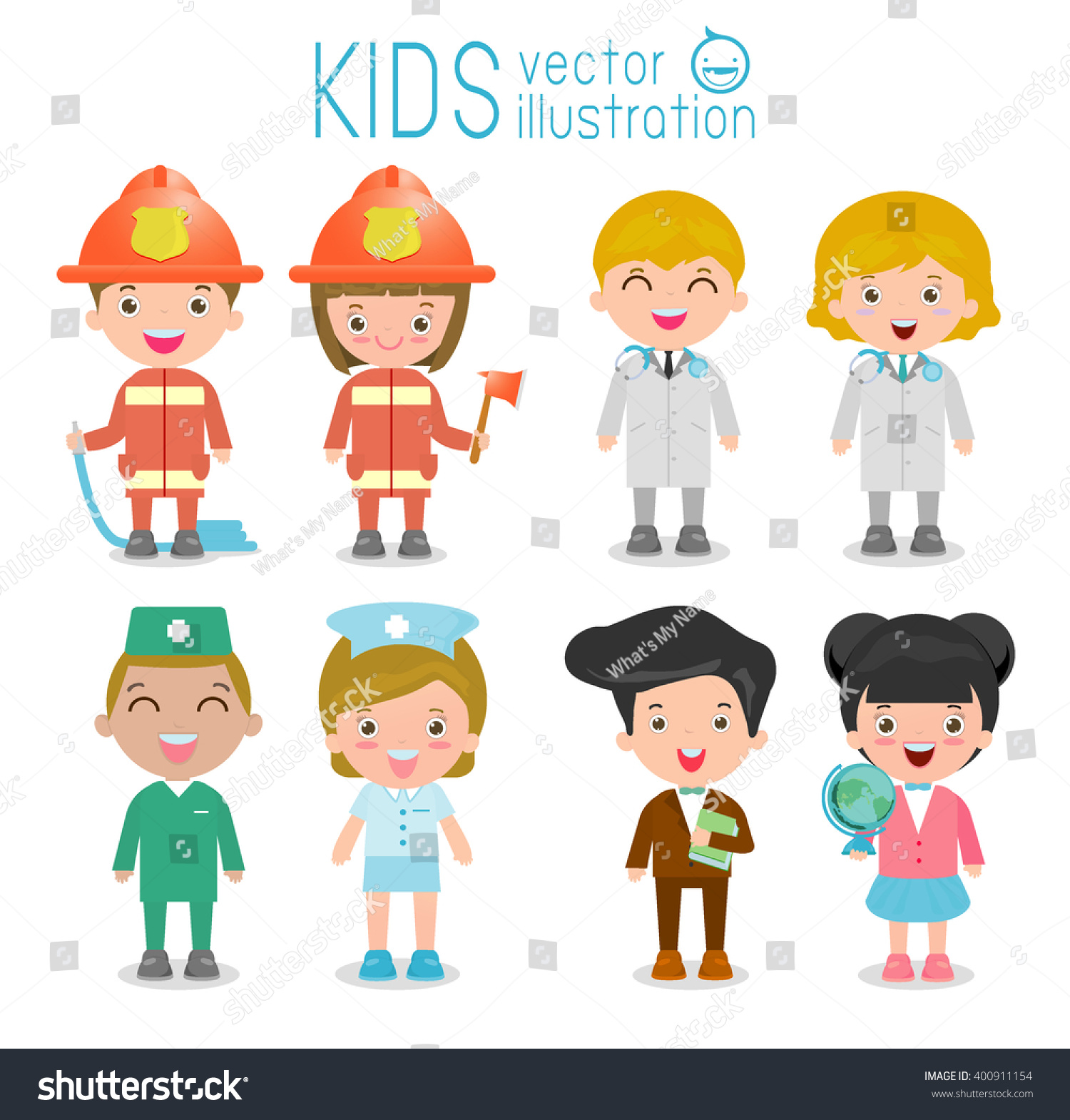 Professions Kidsset Cute Professions Kids Isolated Stock Vector 400911154 - Shutterstock-4686