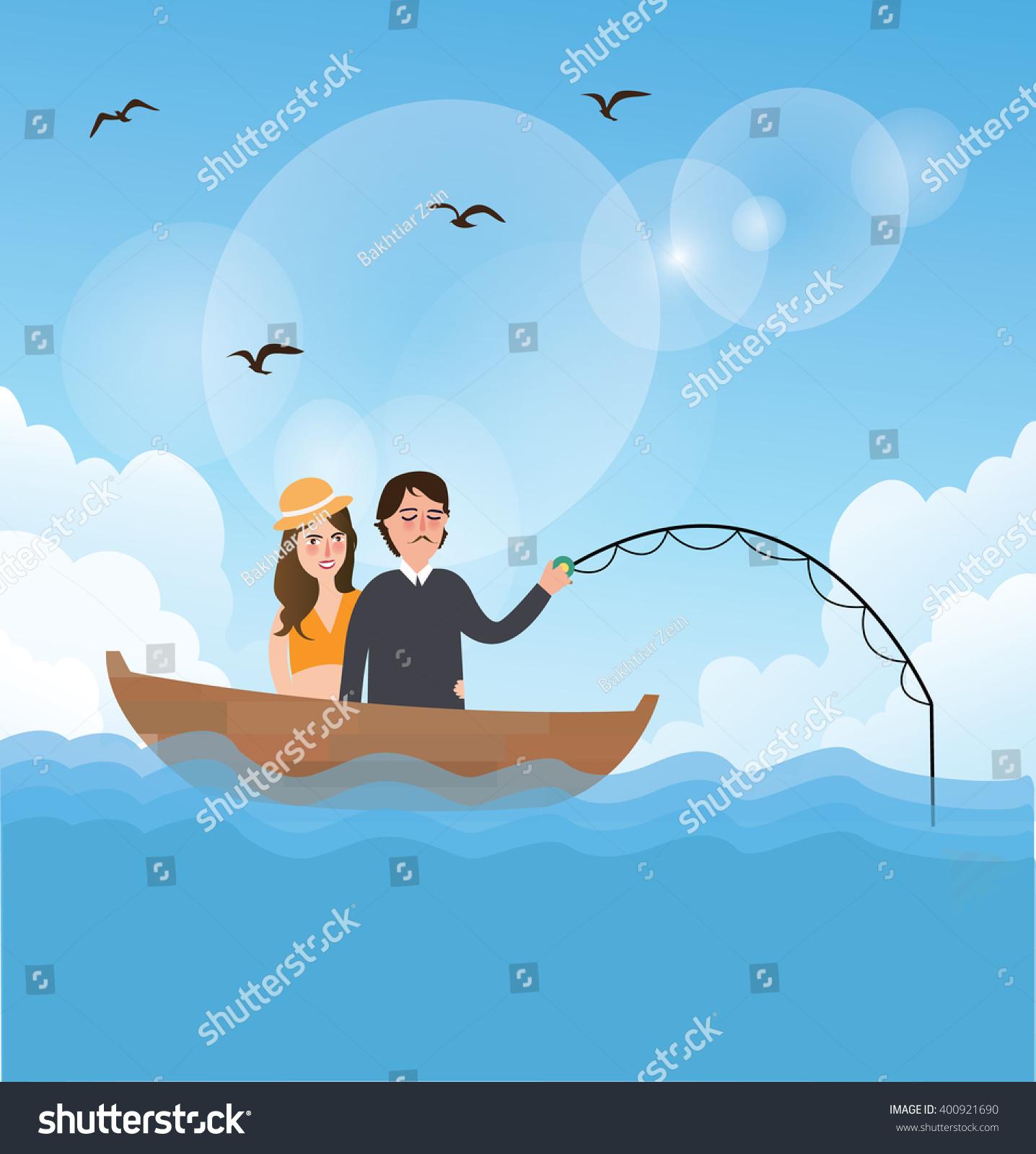 Couple Man Woman Go Fishing Stock Vector Shutterstock