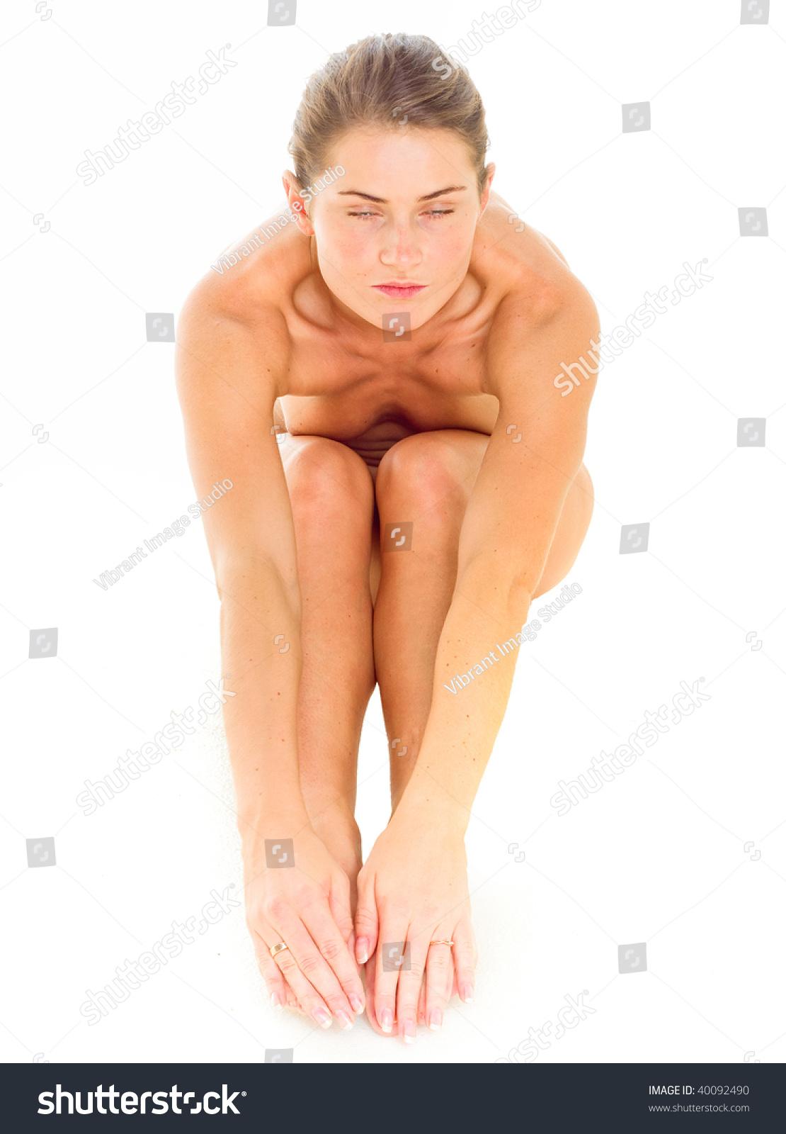 Shy nude woman