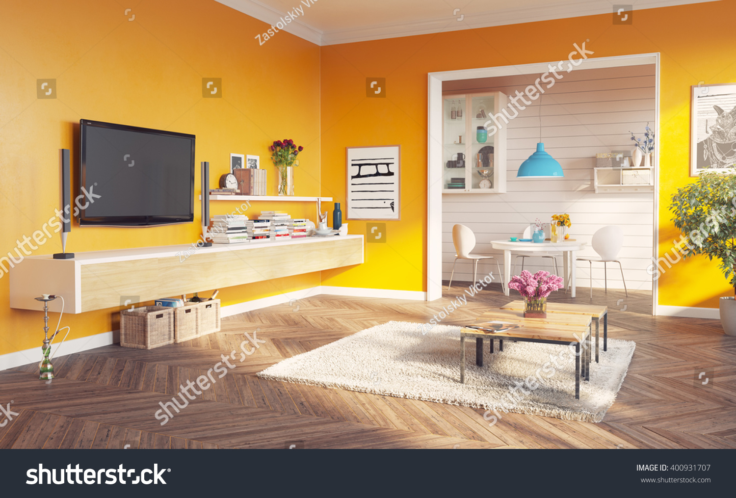 Modern Living Room Interior 3d Rendering Stock