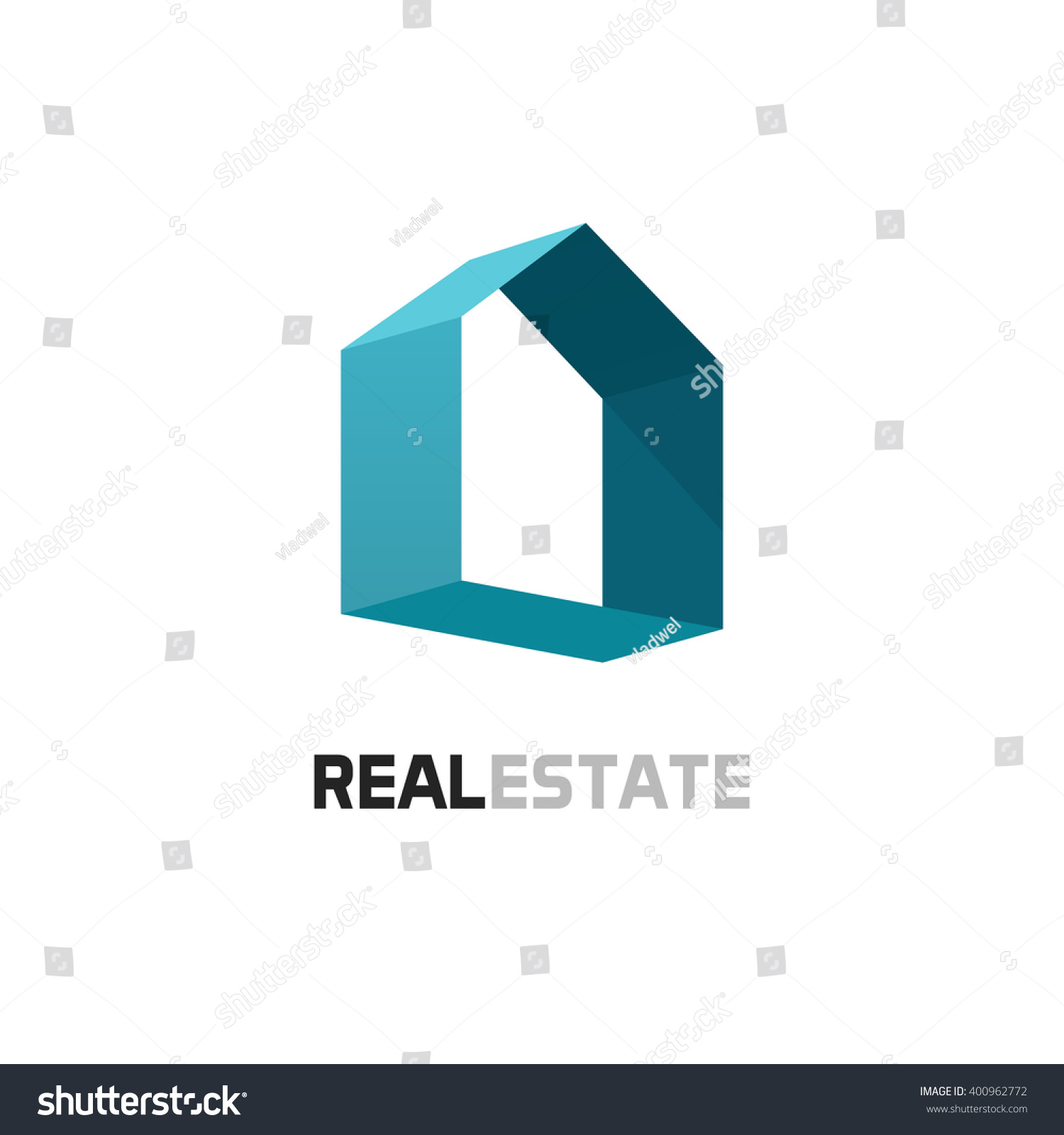 real estate logo template blue 3d abstract geometric home symbol with shadow house shape abstract 3d office building