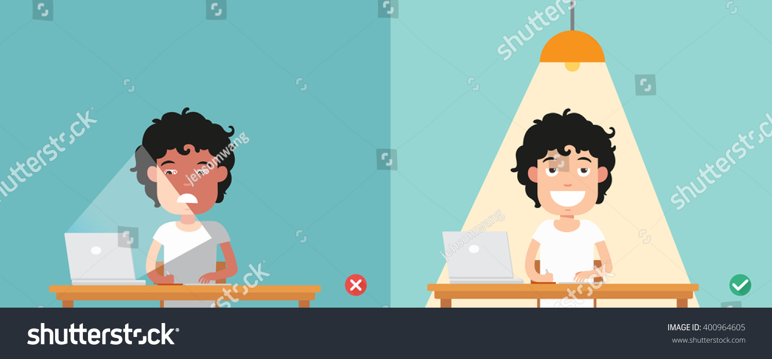 wrong and right for proper lighting in the room illustration vector & Wrong Right Proper Lighting Room Illustration Stock Vector ... azcodes.com