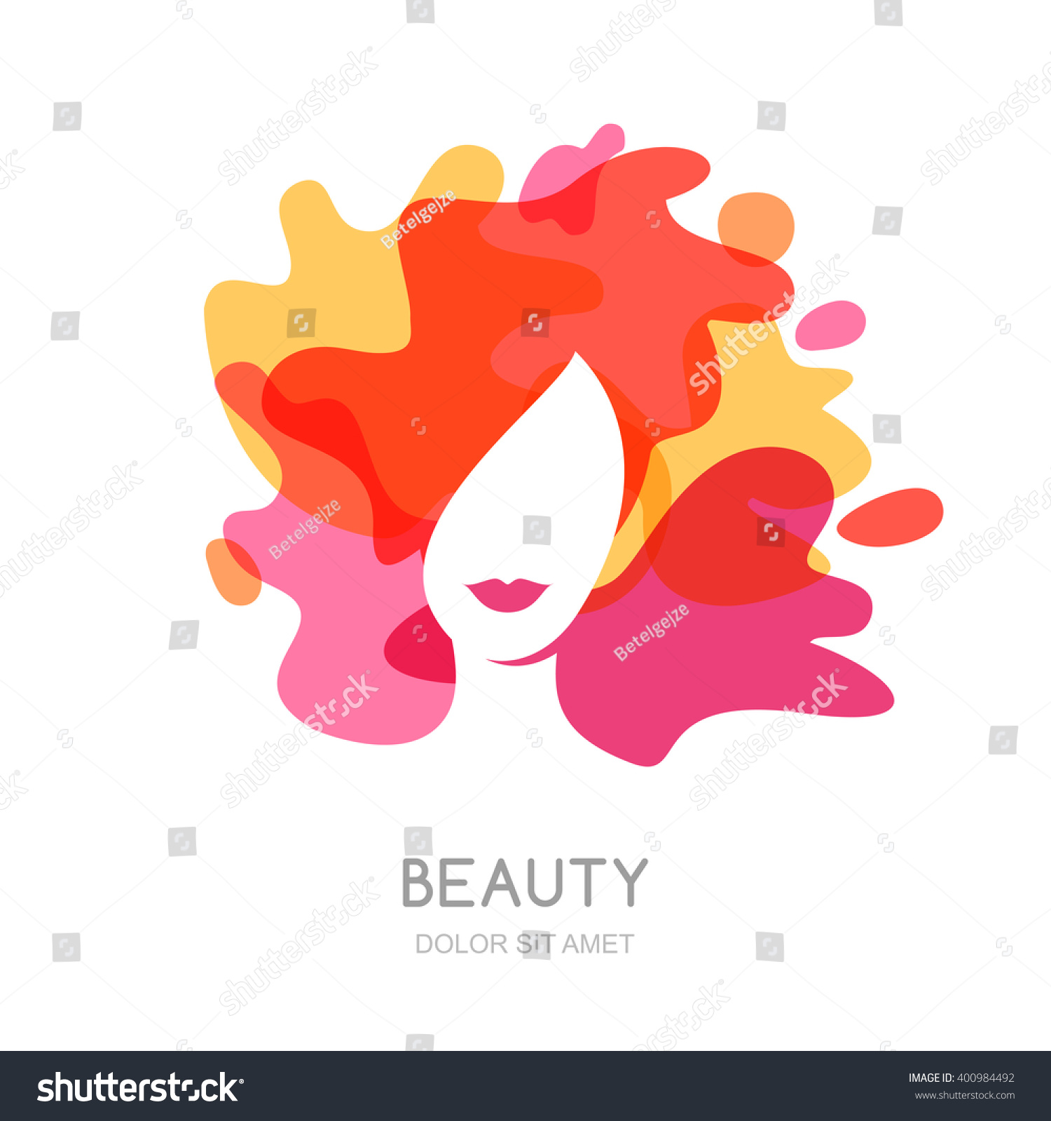 vector logo emblem design female face stock vector 400984492