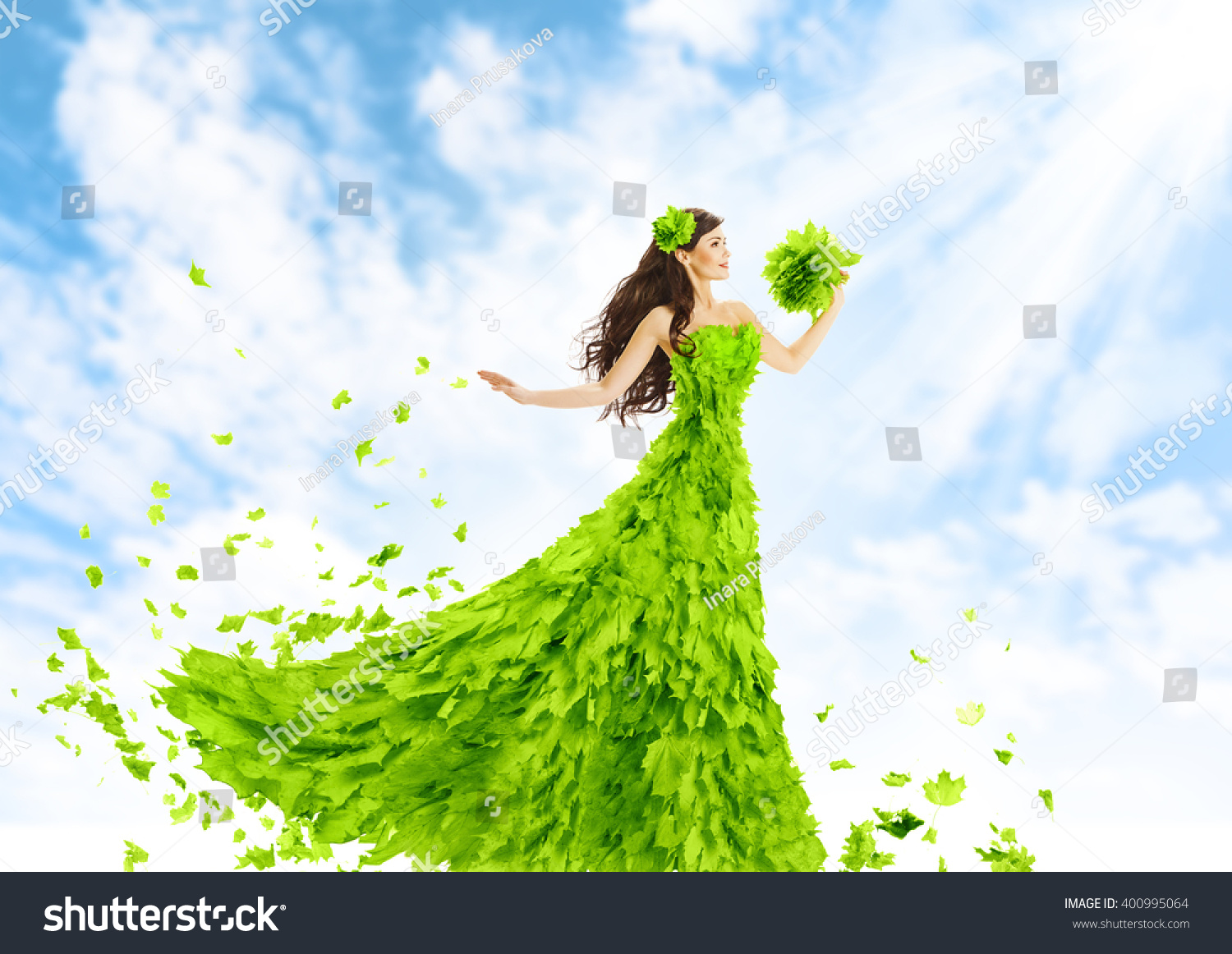 woman green leaves dress nature fashion stock photo edit now