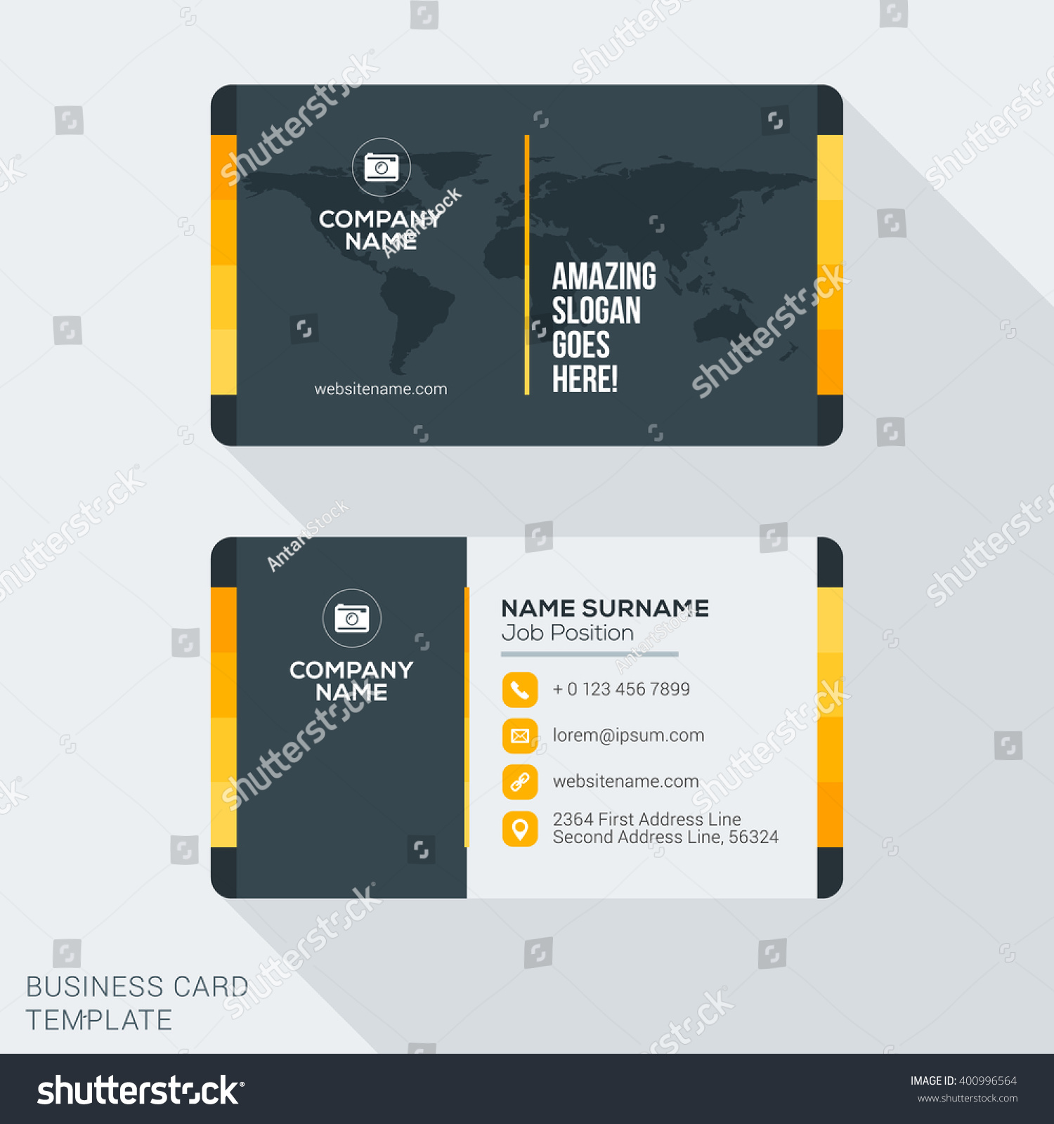 modern creative business card template flat stock vector