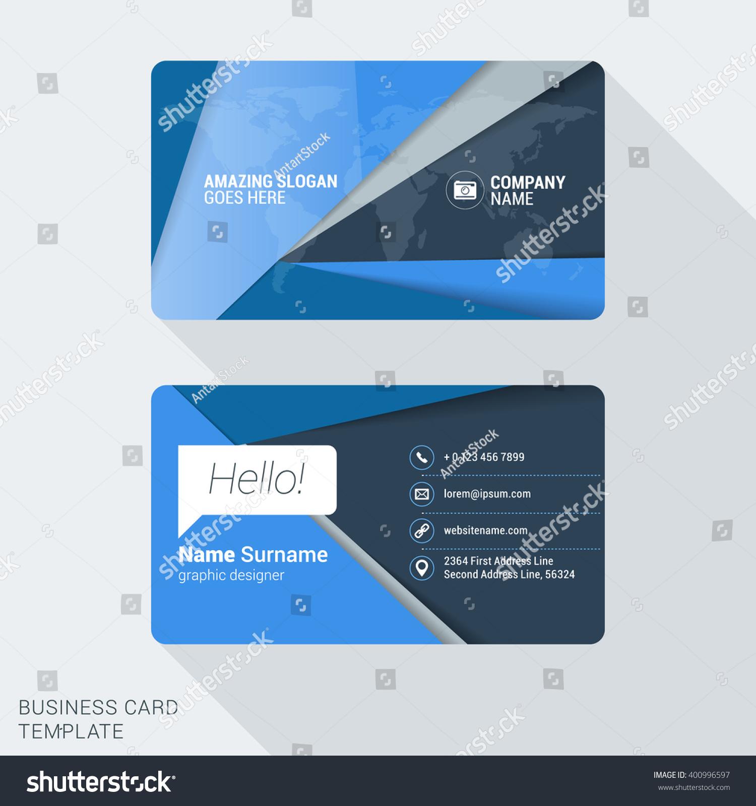 Modern Creative Business Card Template Flat Stock Vector 400996597 ...