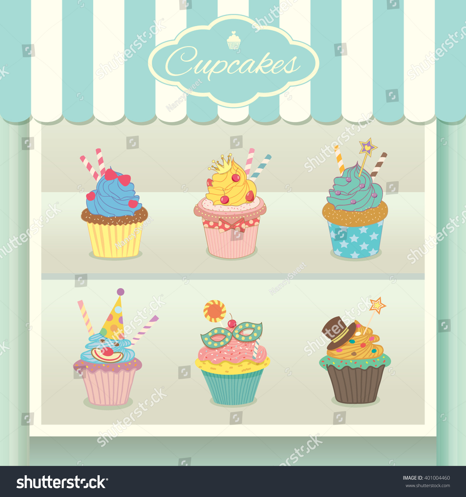 vector fantasy cupcake display on showcase stock vector 401004460
