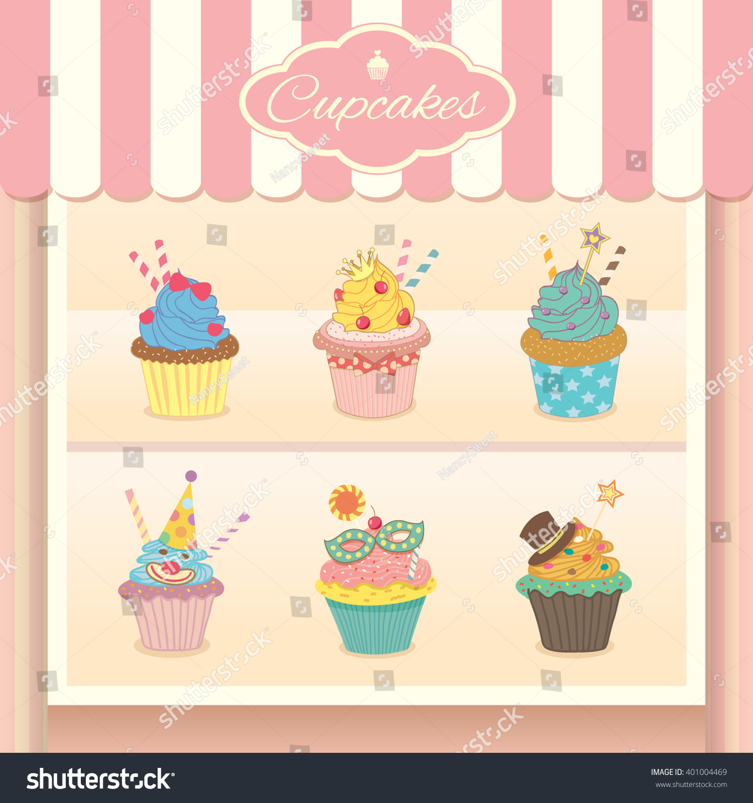 Vector fantasy cupcake display on showcase stock vector for Bakery decoration