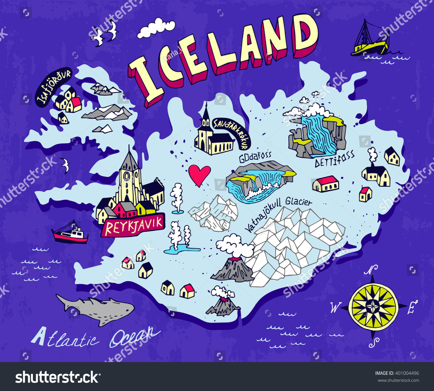 Illustrated Map Iceland Travel Cartography Vector 401004496 – Iceland Travel Map
