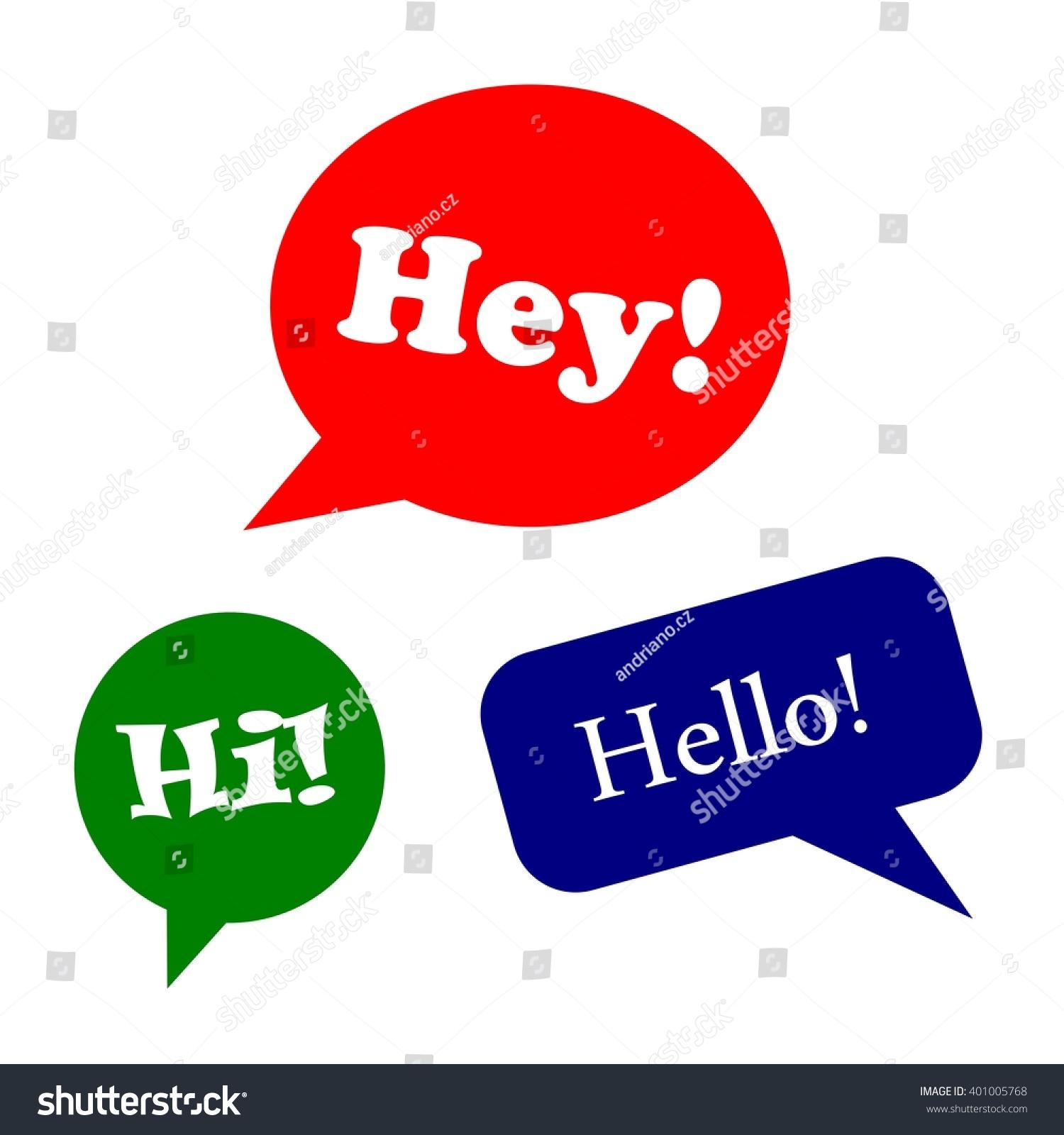 Speech bubbles greeting design set hey stock vector 401005768 speech bubbles or greeting design set hey hi hello m4hsunfo