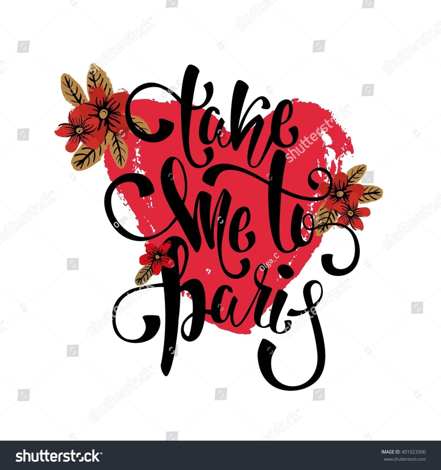 Stock Quote T Take Me Paris Lettering Romantic Quotetshirt Stock Vector