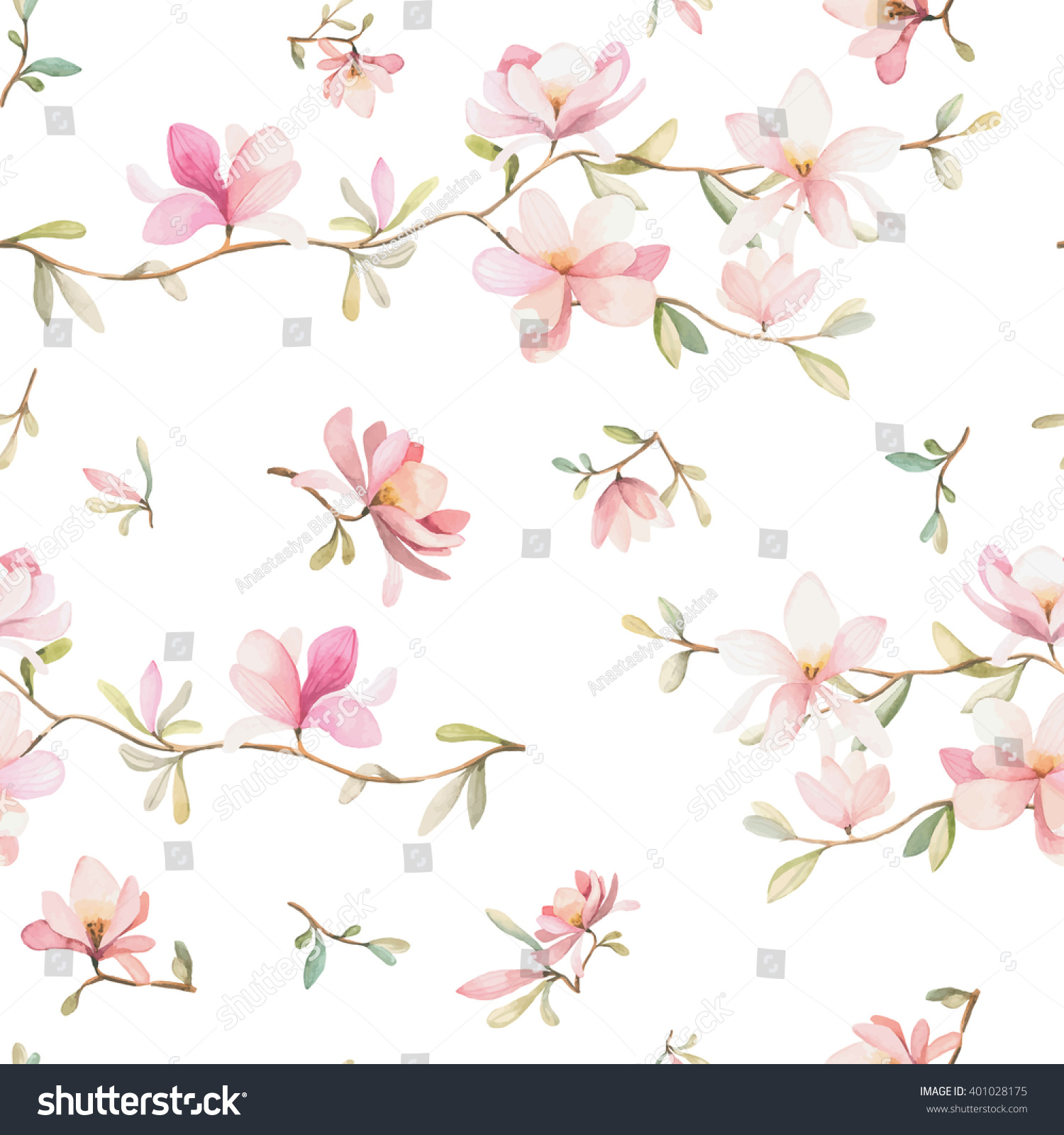 Seamless Watercolor Floral Pattern On White Stock Vector Royalty