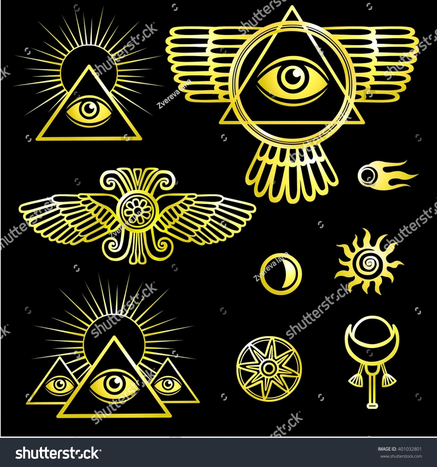 Set Esoteric Symbols Wings Pyramid Eye Stock Vector Royalty Free