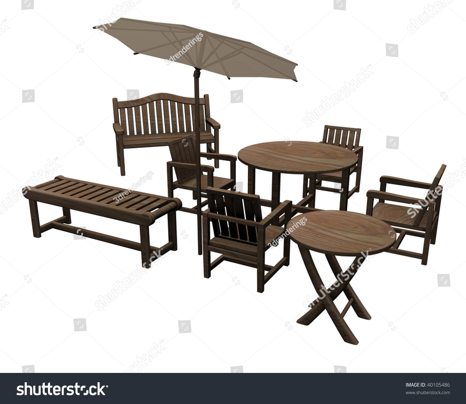 3d render of garden furniture