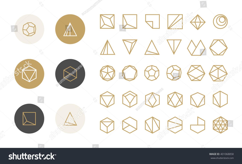 Collection Thin 30 Icons 6 Stylish 401068858 on Geometri Shapes English