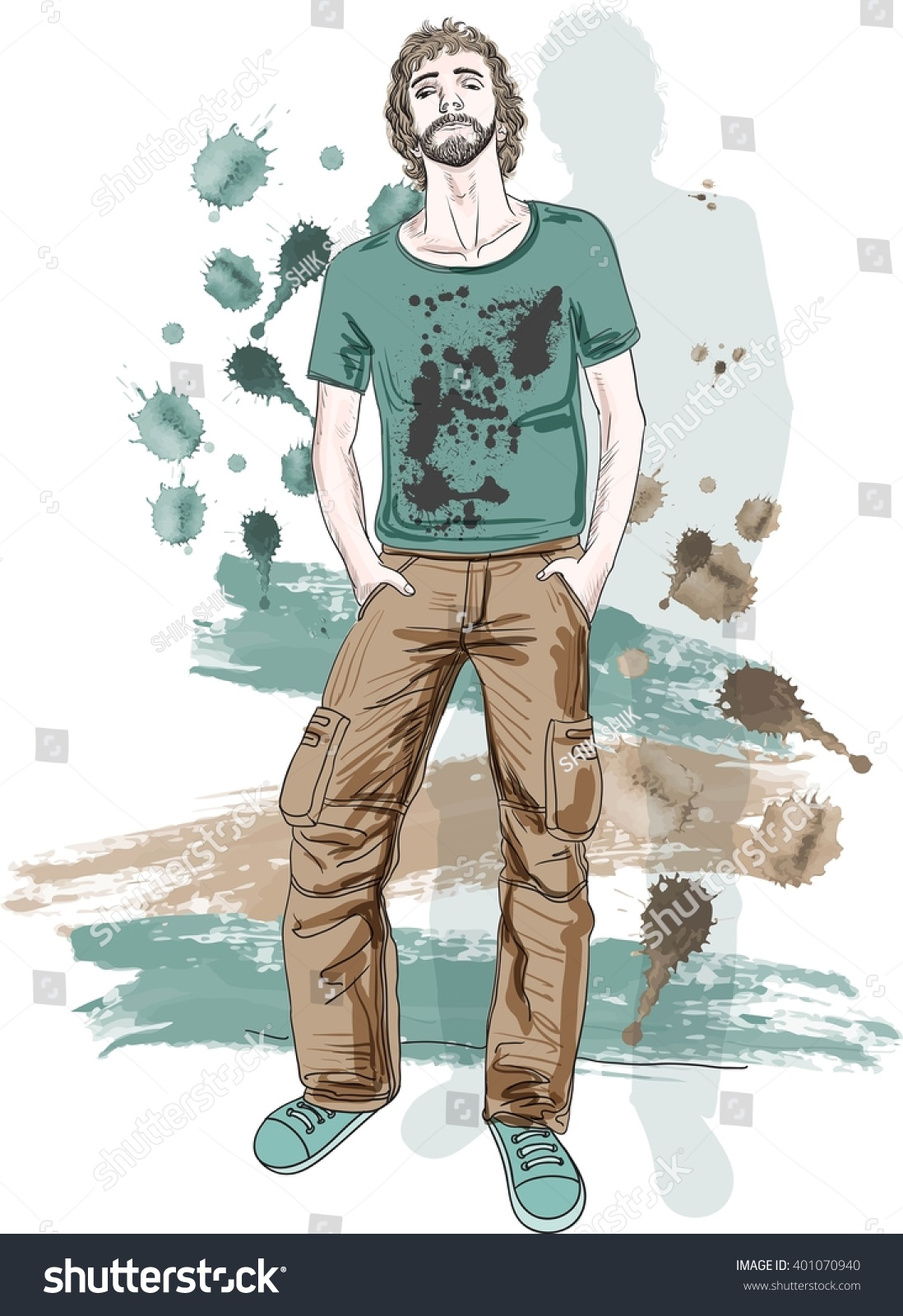 Fashion Man Clothing Free Style Street Stock Vector 401070940 Shutterstock