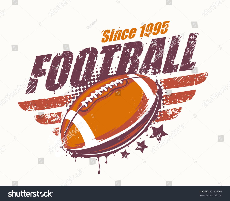 grunge football print retro styled vector stock vector 401106961