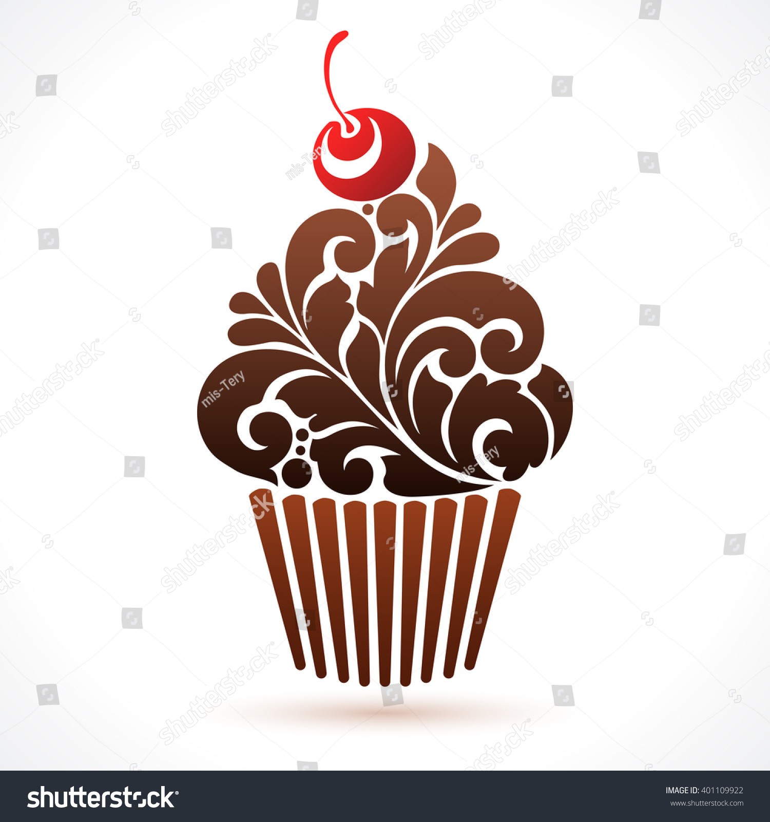 Vector Cupcake Icon Logo Abstract Cupcake Stock Vector