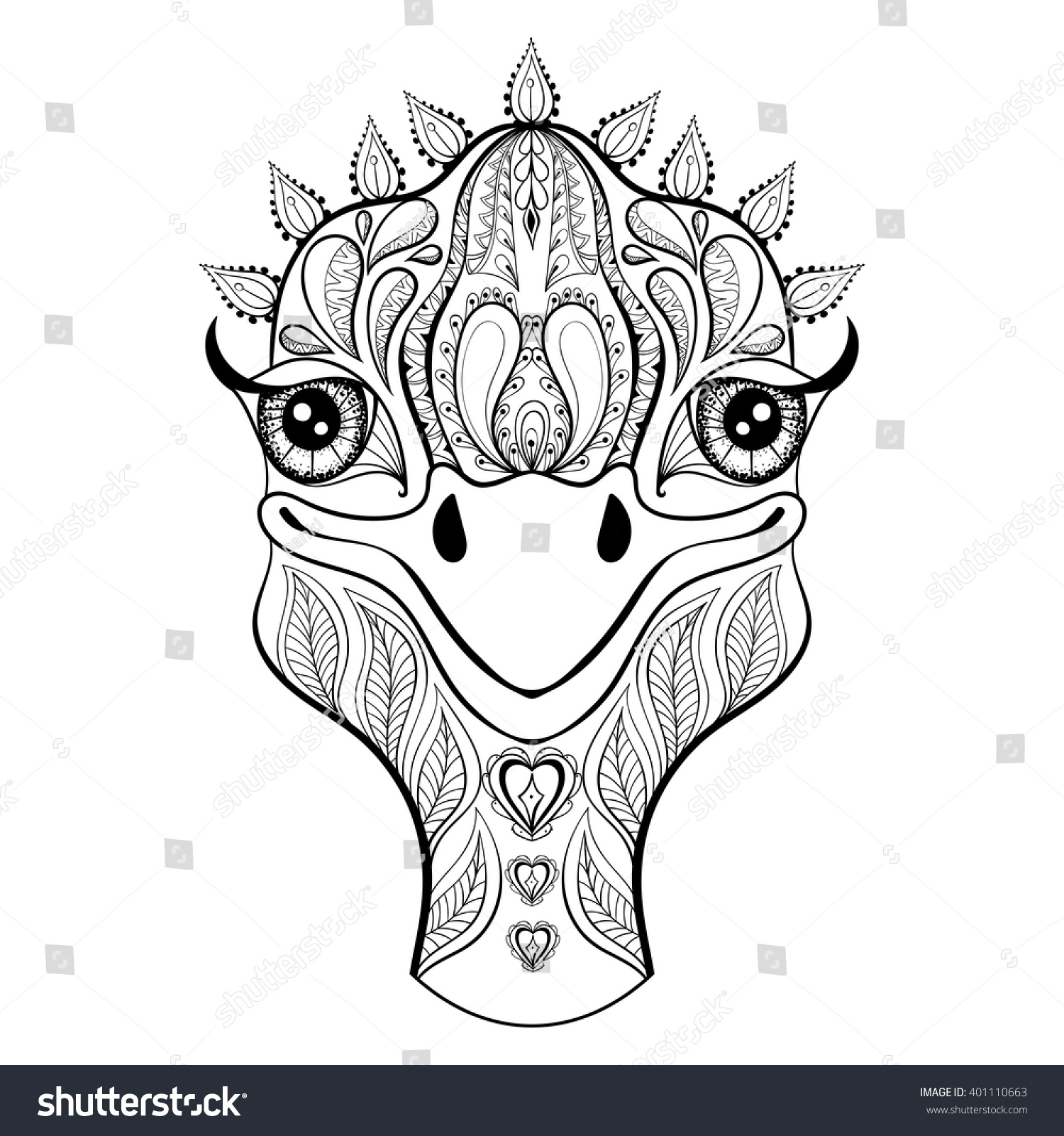 vector ostrich coloring page hand stock vector 401110663