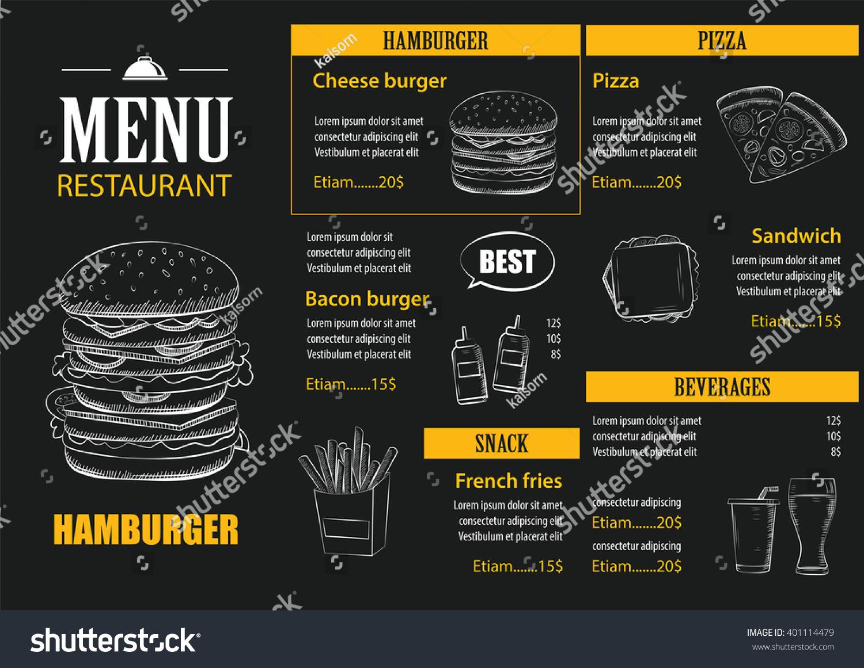Restaurant Design Graphic : Vector restaurant cafe menu hand drawn stock