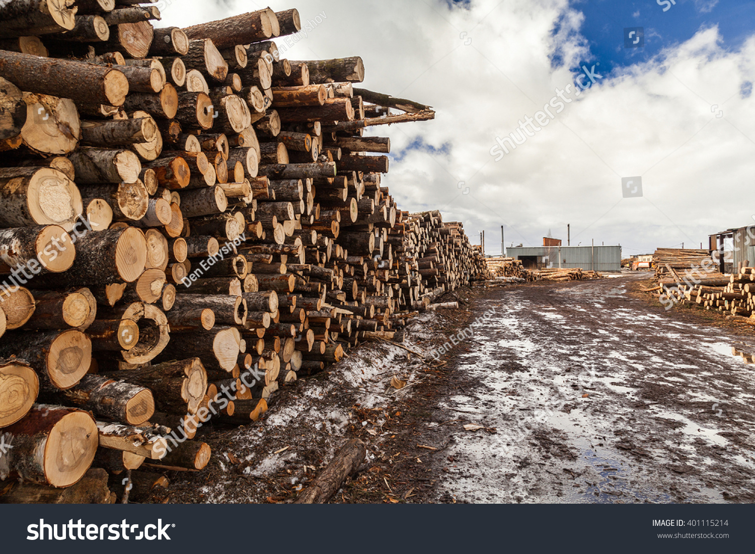 Mudy road at sawmill industrial lots… Stock Photo 401115214