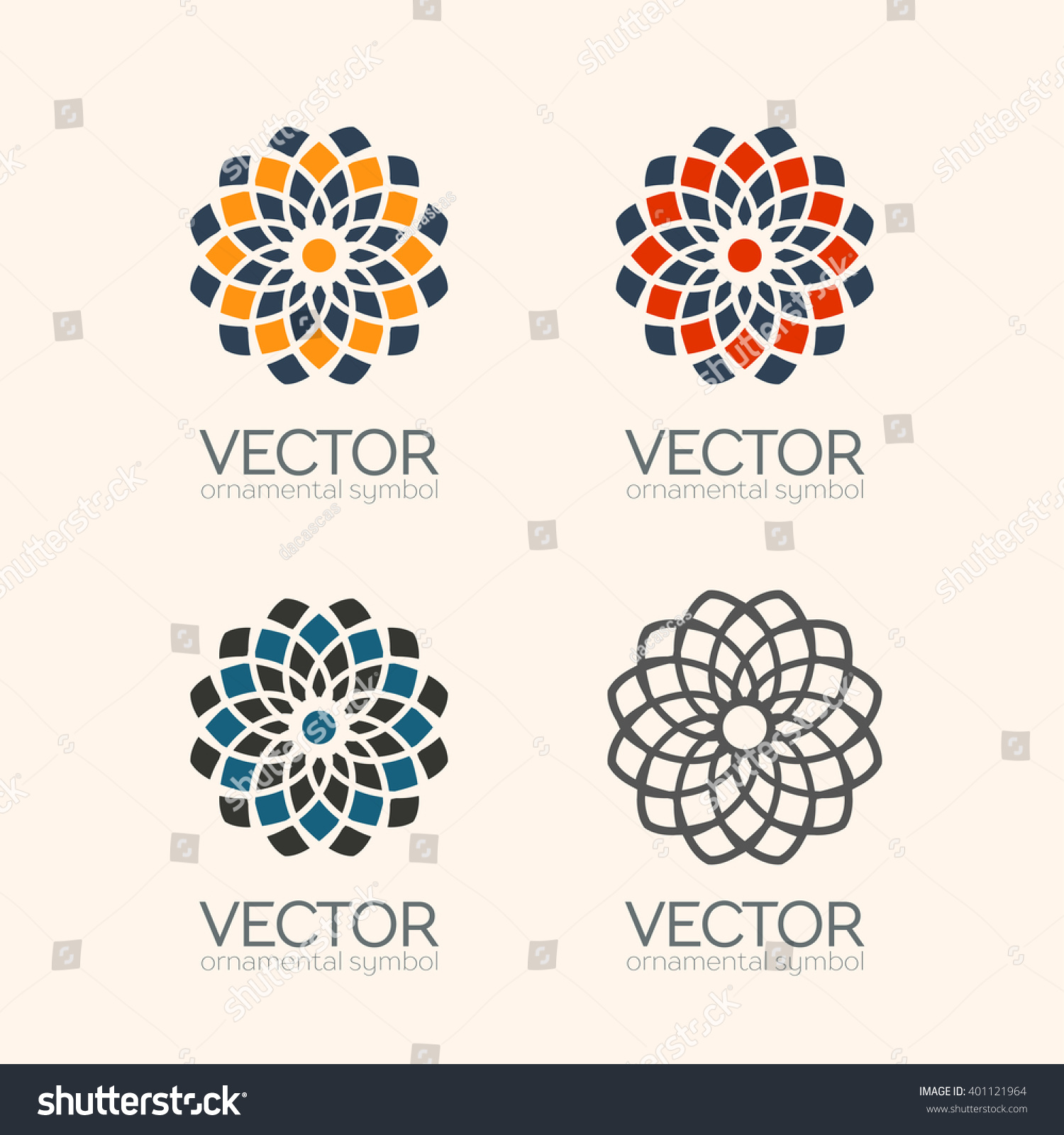 Geometric logo template set Vector Arabic ornamental symbols