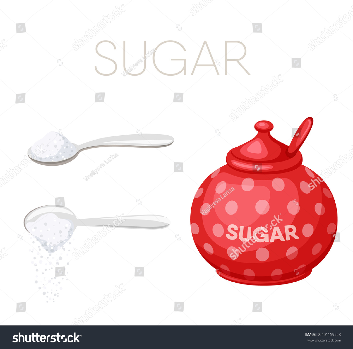 Sugar Bowl And Spoon. Baking And Cooking Ingredients. Pour. Cartoon Vector.  Drink