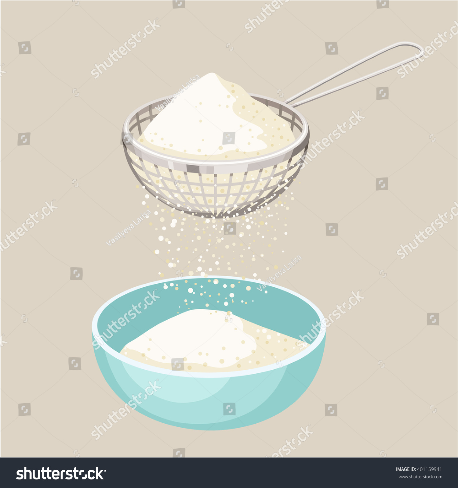 flour sifter sieve on cup baking stock vector 401159941 - shutterstock