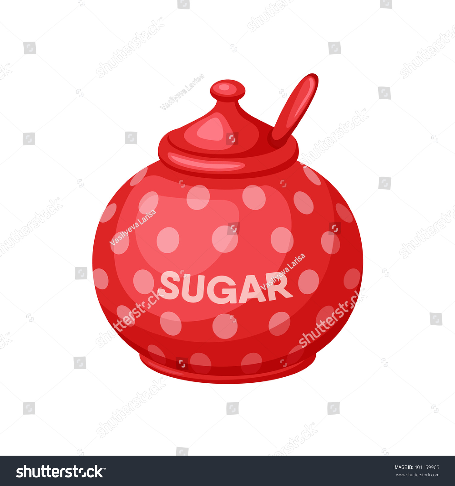 sugar bowl spoon baking cooking ingredients stock vector 401159965