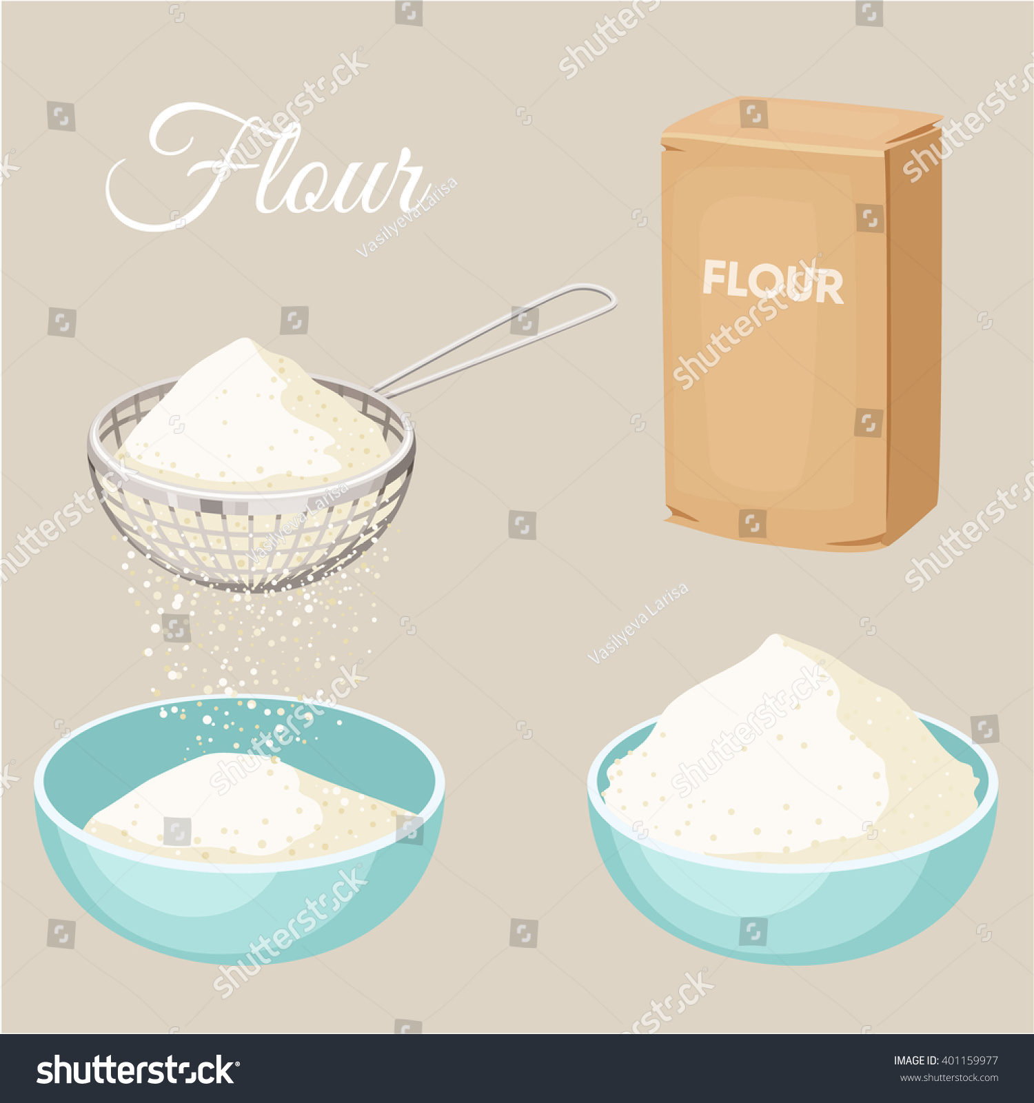 flour sifter package of bowl set stock vector 401159977 - shutterstock